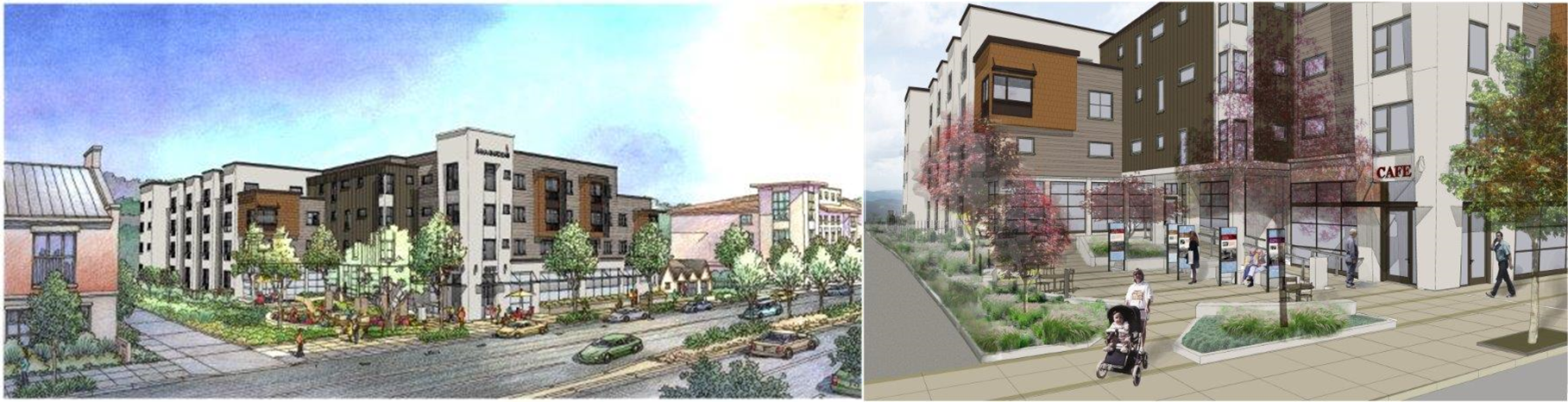 Proposed view of Hana Gardens Apartments and Heritage Plaza