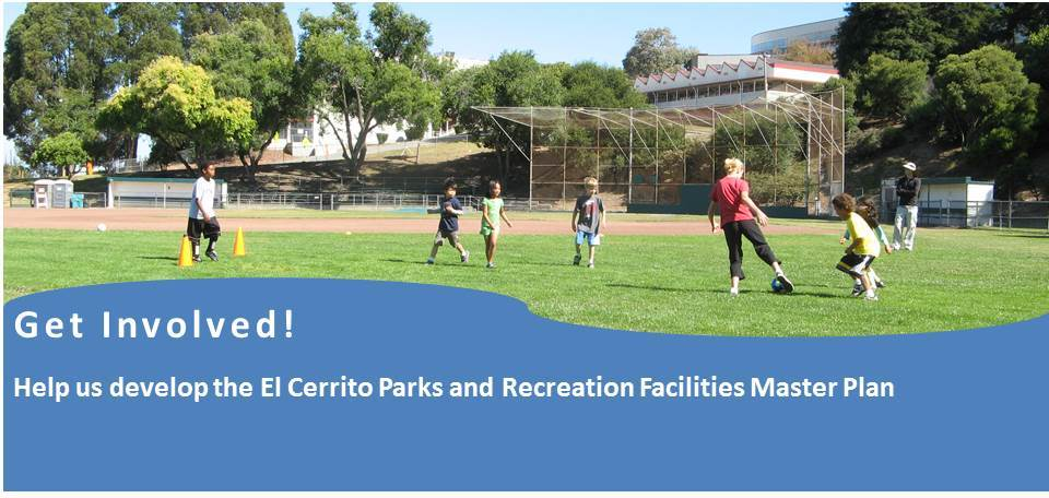 Get Involved! Parks Master Plan with photo of kids playing soccer