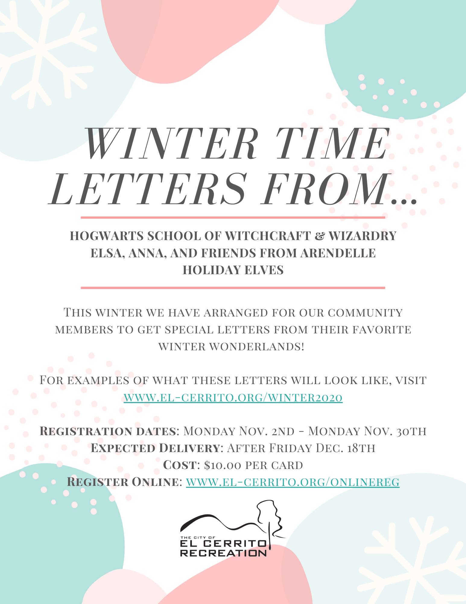 Winter Letters From Flyer Opens in new window